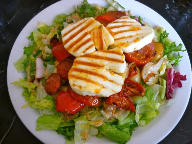 halloumi chorizo salad